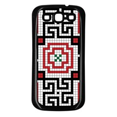 Vintage Style Seamless Black White And Red Tile Pattern Wallpaper Background Samsung Galaxy S3 Back Case (Black)