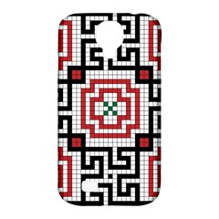 Vintage Style Seamless Black White And Red Tile Pattern Wallpaper Background Samsung Galaxy S4 Classic Hardshell Case (PC+Silicone)