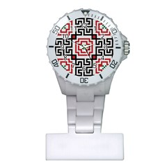 Vintage Style Seamless Black White And Red Tile Pattern Wallpaper Background Plastic Nurses Watch