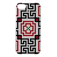 Vintage Style Seamless Black White And Red Tile Pattern Wallpaper Background Apple Iphone 5s/ Se Hardshell Case