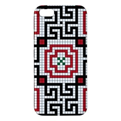 Vintage Style Seamless Black White And Red Tile Pattern Wallpaper Background iPhone 5S/ SE Premium Hardshell Case