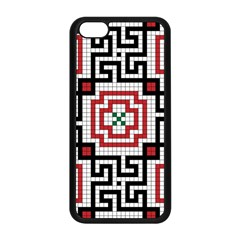 Vintage Style Seamless Black White And Red Tile Pattern Wallpaper Background Apple iPhone 5C Seamless Case (Black)