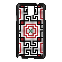 Vintage Style Seamless Black White And Red Tile Pattern Wallpaper Background Samsung Galaxy Note 3 N9005 Case (Black)