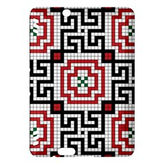 Vintage Style Seamless Black White And Red Tile Pattern Wallpaper Background Kindle Fire HDX Hardshell Case