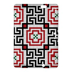 Vintage Style Seamless Black White And Red Tile Pattern Wallpaper Background Kindle Fire HDX 8.9  Hardshell Case