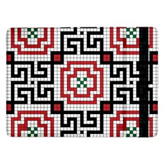Vintage Style Seamless Black White And Red Tile Pattern Wallpaper Background Samsung Galaxy Tab Pro 12.2  Flip Case