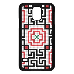 Vintage Style Seamless Black White And Red Tile Pattern Wallpaper Background Samsung Galaxy S5 Case (Black)