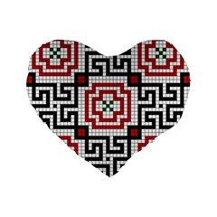 Vintage Style Seamless Black White And Red Tile Pattern Wallpaper Background Standard 16  Premium Flano Heart Shape Cushions