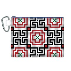 Vintage Style Seamless Black White And Red Tile Pattern Wallpaper Background Canvas Cosmetic Bag (xl)