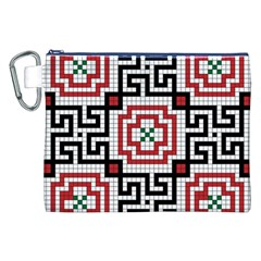 Vintage Style Seamless Black White And Red Tile Pattern Wallpaper Background Canvas Cosmetic Bag (XXL)