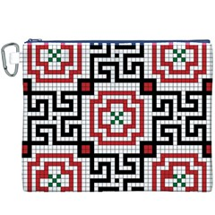 Vintage Style Seamless Black White And Red Tile Pattern Wallpaper Background Canvas Cosmetic Bag (XXXL)