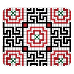 Vintage Style Seamless Black White And Red Tile Pattern Wallpaper Background Double Sided Flano Blanket (small)