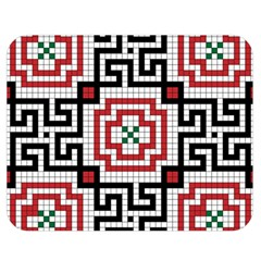 Vintage Style Seamless Black White And Red Tile Pattern Wallpaper Background Double Sided Flano Blanket (Medium)