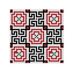 Vintage Style Seamless Black White And Red Tile Pattern Wallpaper Background Small Satin Scarf (Square)