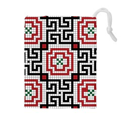 Vintage Style Seamless Black White And Red Tile Pattern Wallpaper Background Drawstring Pouches (extra Large)