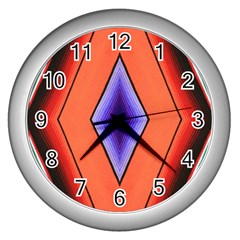 Diamond Shape Lines & Pattern Wall Clocks (silver)