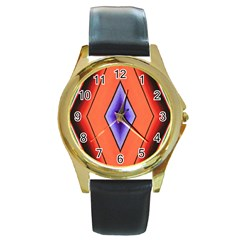 Diamond Shape Lines & Pattern Round Gold Metal Watch