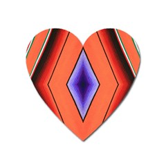 Diamond Shape Lines & Pattern Heart Magnet