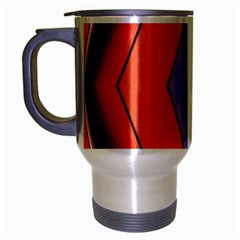Diamond Shape Lines & Pattern Travel Mug (Silver Gray)