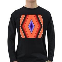 Diamond Shape Lines & Pattern Long Sleeve Dark T Shirts