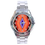 Diamond Shape Lines & Pattern Stainless Steel Analogue Watch Front