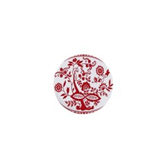 Red Vintage Floral Flowers Decorative Pattern 1  Mini Magnets