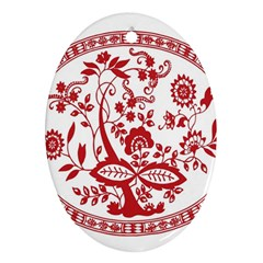 Red Vintage Floral Flowers Decorative Pattern Ornament (oval)
