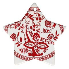 Red Vintage Floral Flowers Decorative Pattern Ornament (Star)