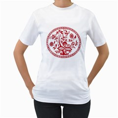 Red Vintage Floral Flowers Decorative Pattern Women s T-Shirt (White) (Two Sided)