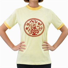 Red Vintage Floral Flowers Decorative Pattern Women s Fitted Ringer T-Shirts