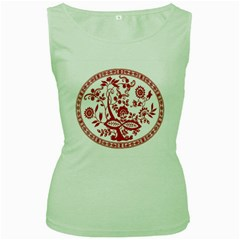 Red Vintage Floral Flowers Decorative Pattern Women s Green Tank Top