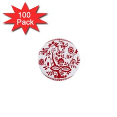 Red Vintage Floral Flowers Decorative Pattern 1  Mini Buttons (100 Pack)