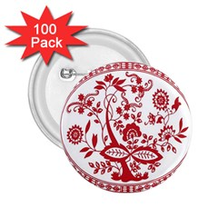 Red Vintage Floral Flowers Decorative Pattern 2.25  Buttons (100 pack)