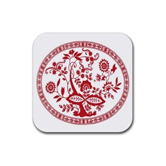 Red Vintage Floral Flowers Decorative Pattern Rubber Coaster (Square)