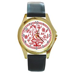 Red Vintage Floral Flowers Decorative Pattern Round Gold Metal Watch
