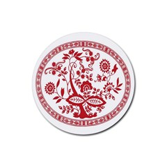 Red Vintage Floral Flowers Decorative Pattern Rubber Coaster (Round)
