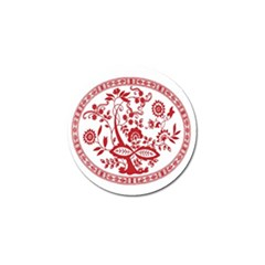 Red Vintage Floral Flowers Decorative Pattern Golf Ball Marker