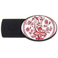 Red Vintage Floral Flowers Decorative Pattern USB Flash Drive Oval (2 GB)