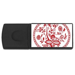 Red Vintage Floral Flowers Decorative Pattern USB Flash Drive Rectangular (2 GB)