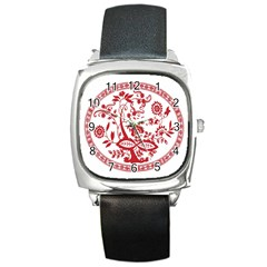 Red Vintage Floral Flowers Decorative Pattern Square Metal Watch