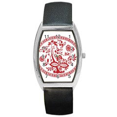 Red Vintage Floral Flowers Decorative Pattern Barrel Style Metal Watch