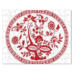 Red Vintage Floral Flowers Decorative Pattern Rectangular Jigsaw Puzzl