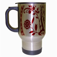 Red Vintage Floral Flowers Decorative Pattern Travel Mug (Silver Gray)