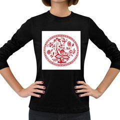 Red Vintage Floral Flowers Decorative Pattern Women s Long Sleeve Dark T-Shirts