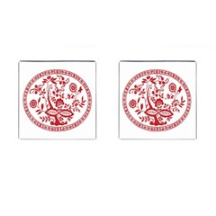 Red Vintage Floral Flowers Decorative Pattern Cufflinks (Square)