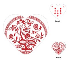 Red Vintage Floral Flowers Decorative Pattern Playing Cards (Heart)