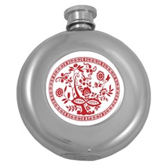 Red Vintage Floral Flowers Decorative Pattern Round Hip Flask (5 oz)