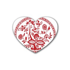 Red Vintage Floral Flowers Decorative Pattern Heart Coaster (4 Pack)