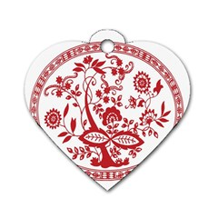 Red Vintage Floral Flowers Decorative Pattern Dog Tag Heart (One Side)