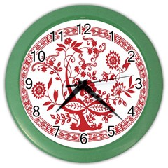 Red Vintage Floral Flowers Decorative Pattern Color Wall Clocks